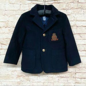 VTG Polo RL Wool Pea Coat Raised Insignia RARE